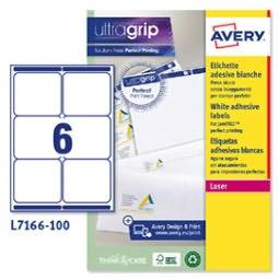 Image of Etichetta adesiva L7166 - permanente - 99,1x93,1 mm - 6 etichette per foglio - bianco - Avery - conf. 100 fogli A4 (unit? vendita 1 pz.)